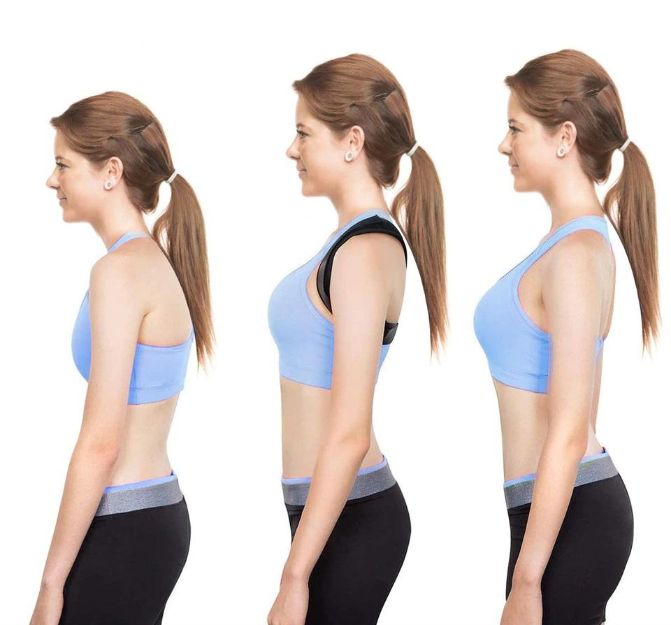 Woman showing stages of slouchiness to straightness, by wearing the unisex posture corrector by leBoosh!