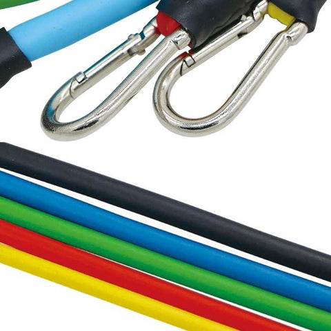 Resistance bands are made of TPE rubber attached to strong carabiner clips. Easy to clean, durable, strong, anti snap and can be recycled.