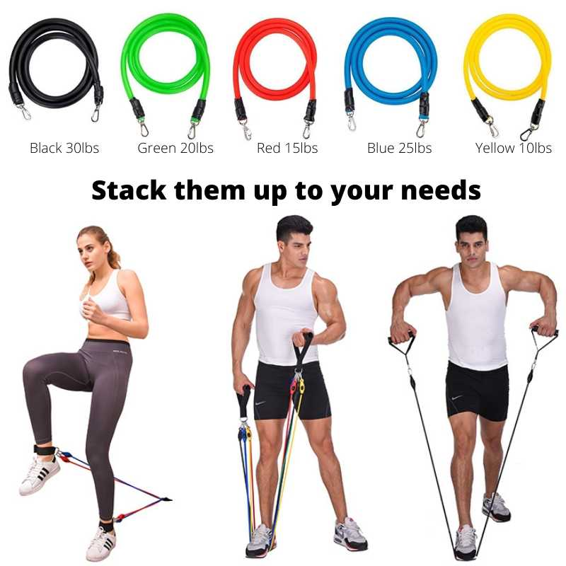 Resistance exercise band has different tension weights. Stack them up to add more tension.