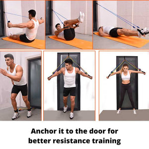 Resistance band workout can be with a door using the door anchor, door gym, pull ups on doors