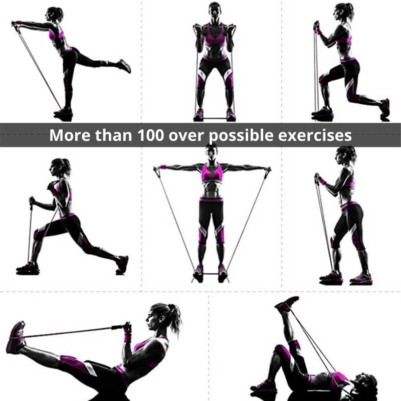Over 100 possible exercises with the exercise training bands, best resistance bands for head to toe workout