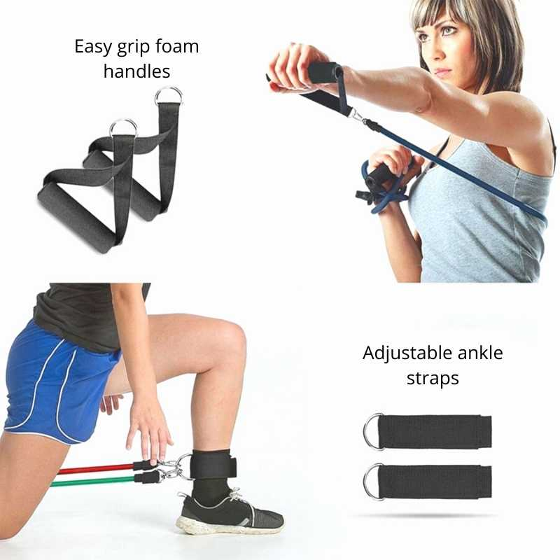 Easy grip foam handles, adjustable ankle straps complements the 5 resistance bands for complete exercise set