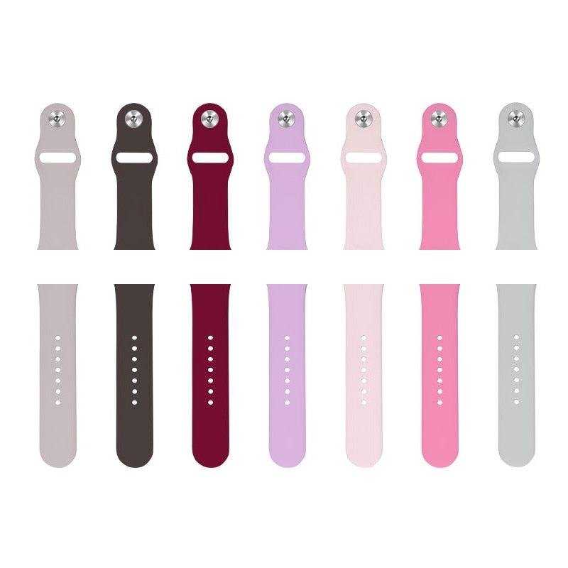 7 assorted colors of the Apple Watch silicone sport band