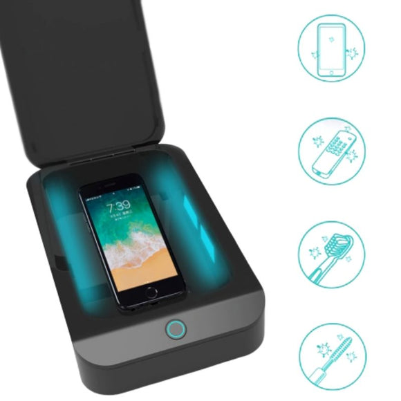 Phone sanitizer using UVC light, kills germs, sterilizes. Can also fit others like toothbrush, mascara wand, remote control, etc in