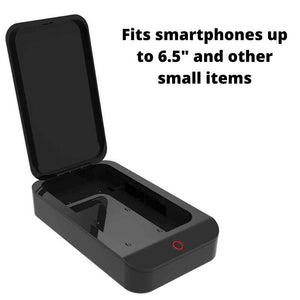 Sanitizer machine fits smartphones up to 6.5 inches and other small items