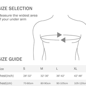 Size chart S, M, L and XL and how to measure to get the circumference of your chest.