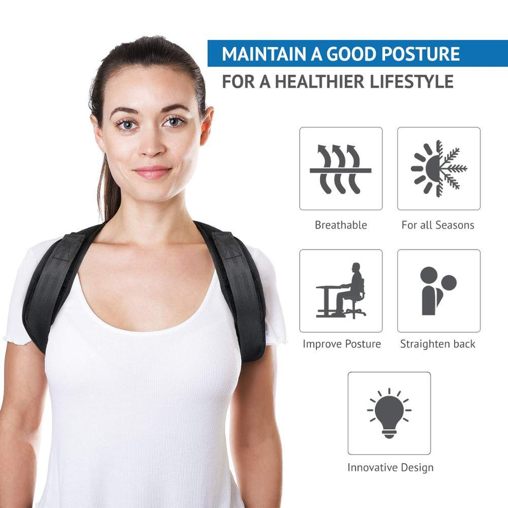 Brunette facing front wearing posture corrector. Next to her is infographic stating the features of the posture corrector.