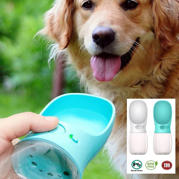 Hand offering golden retriever with portable dog water bottle in blue
