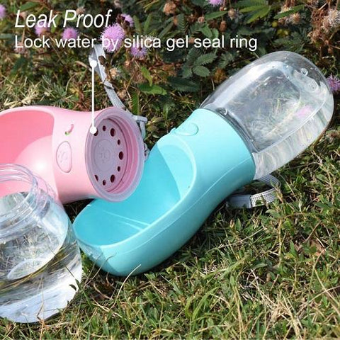 There is a silica gel seal ring inside the portable dog water bottle to prevent leakages