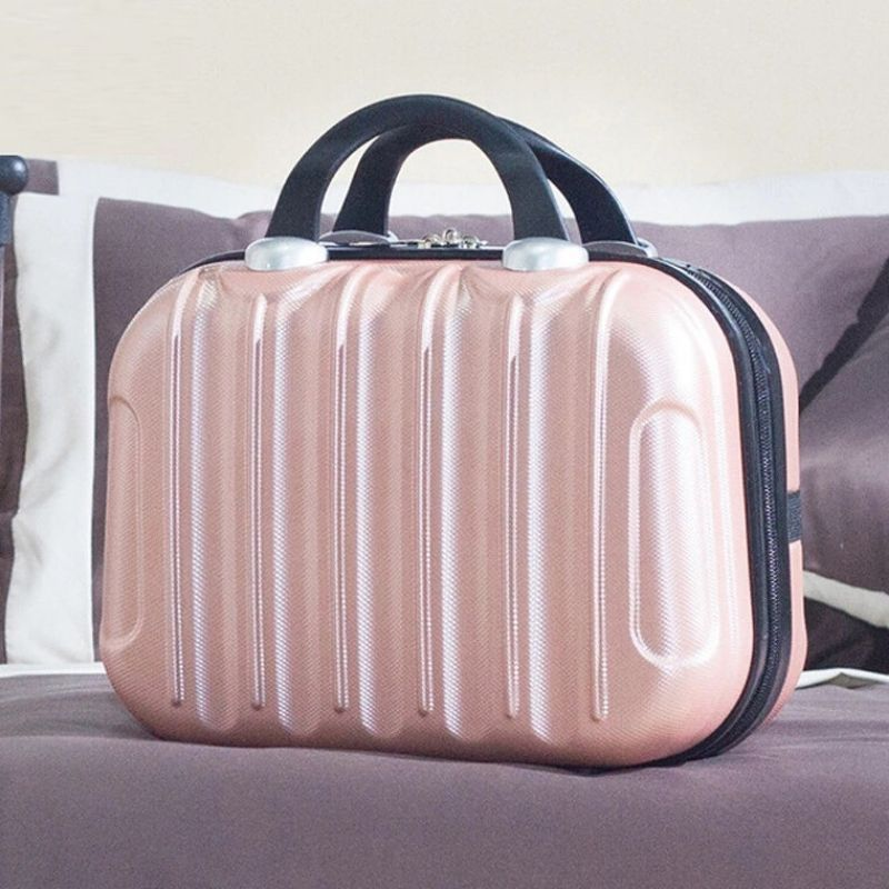 Hardshell Toiletry Bag for Women in metallic  peachy pink