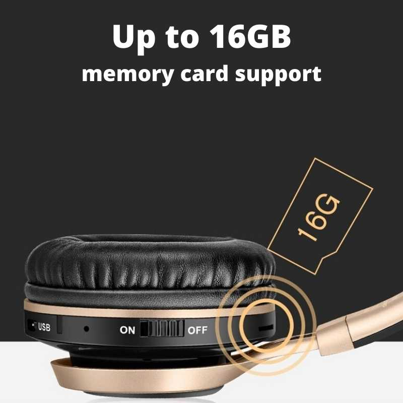 wireless headphone supports up to 16GB SD card, play music without phone