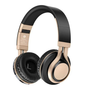 wireless bluetooth headphone, black and gold headphone