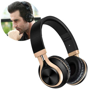 Wireless bluetooth headphones. Insert of photo showing man wearing black wireless headphone