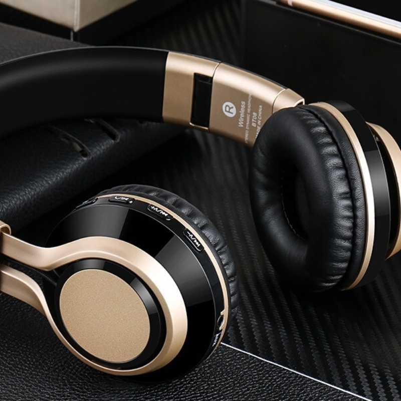 black and gold headphones