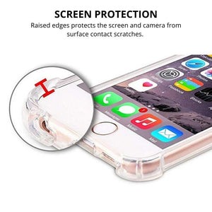 iPhone clear case that has raised edges to protect the front screen from scratches when placed down onto a surface.