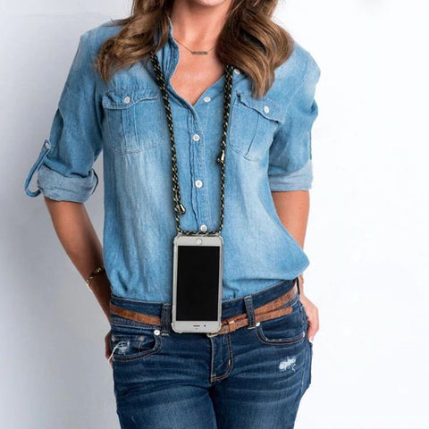 Woman and her iPhone necklace