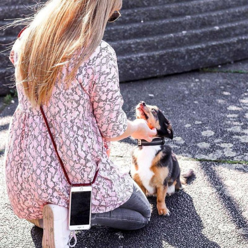 Girl kneeling in front of dog, petting the dog with her iPhone attached to an iPhone necklace