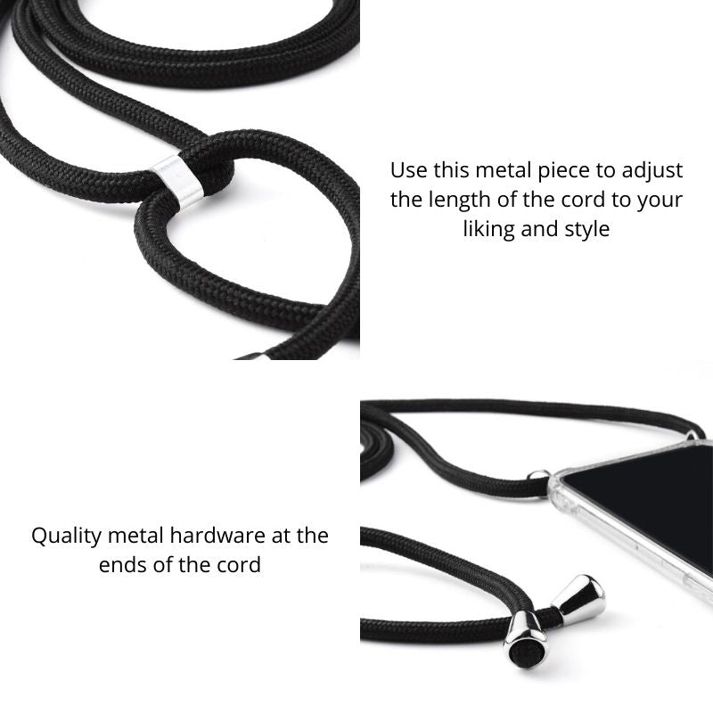 Metal piece on the cord that adjusts the length based on your liking. Metal hardware at the ends of the cord makes it look nice and polished.