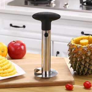 Stainless steel pineapple corer with black handle