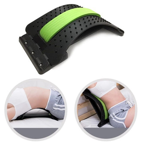 Back Stretcher & Spine Corrector with green middle foam. Insert of a woman lying on the floor with back stretcher and woman sitting on bed, leaning on back stretcher