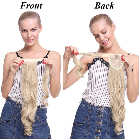 Model holding and showing the front and back of the clip on ponytail