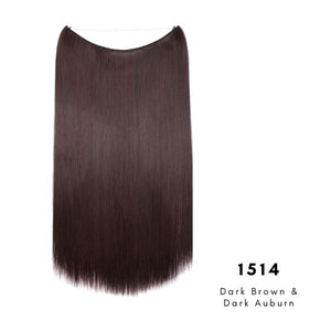 Invisible Wire Halo Hair Extension in dark brown and dark auburn