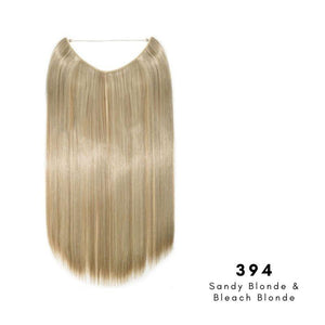 Invisible Wire Halo Hair Extension in Sandy Blonde & Bleach Blonde, ref 394