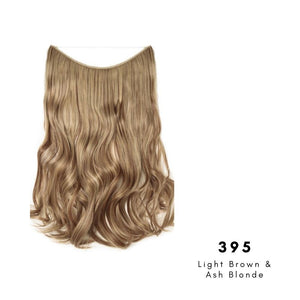 Invisible Wire Halo Hair Extension in Light Brown & Ash Blonde, ref 395