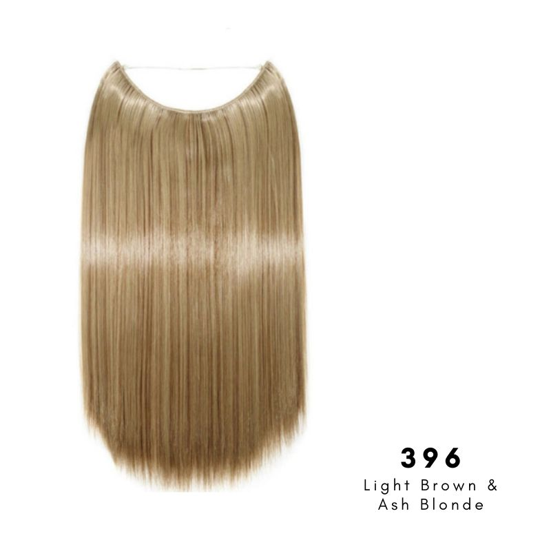 Invisible Wire Halo Hair Extension in Light Brown & Ash Blonde, ref 396