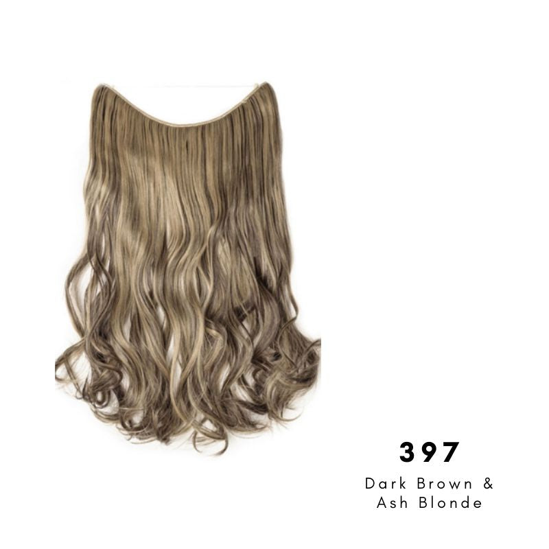 Invisible Wire Halo Hair Extension in Dark Brown & Ash Blonde, ref 397
