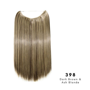 Invisible Wire Halo Hair Extension in Dark Brown & Ash Blonde, ref 398