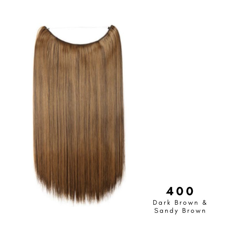 Invisible Wire Halo Hair Extension in Dark Brown & Sandy Brown, ref 400