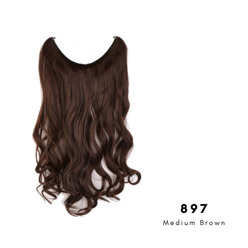 Invisible Wire Halo Hair Extension in Medium Brown, ref 897