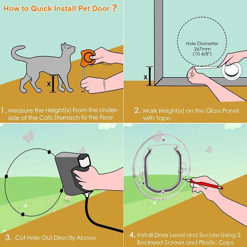 Image educated how to install the Transparent Pet Door on glass
