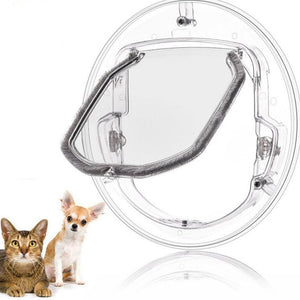 Transparent Pet Door on white background with a small insert of a small dog and cat next to it