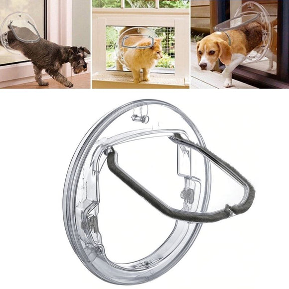 Transparent Pet Door image on white background. Above it are three images of 2 small dogs and 1 cat going through the pet door
