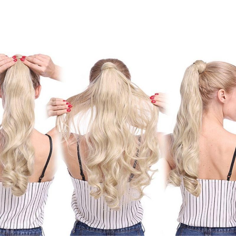 Woman wearing Clip In Ponytail Hair Extension in blonde