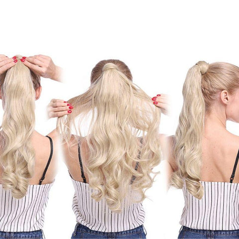 Model showing the back and side view of the clip on ponytail