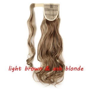Clip In Ponytail Hair Extension in light brown and ash blonde