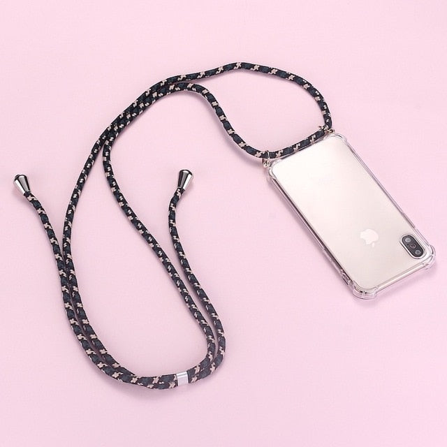 iPhone clear case with dark 3 toned cord