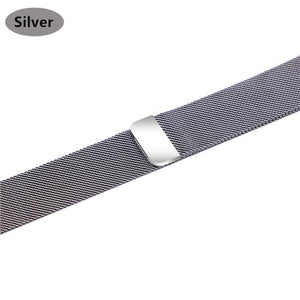 Stainless Steel Bracelet Band with Milanese Loop. Compatible with Apple Watch. Woven metal is soft, lightweight and looks very premium. Silver color