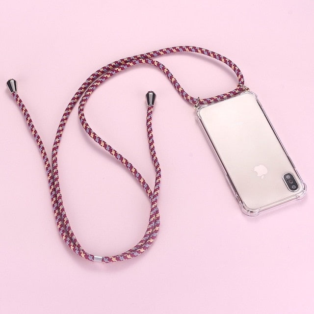 iPhone clear case with red 3 toned cord