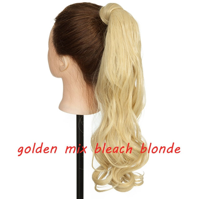 Clip In Ponytail Hair Extension in golden mix beach blonde
