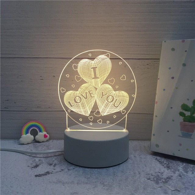 3D LED ambient night light - 3 hearts with text I LOVE YOU in each heart