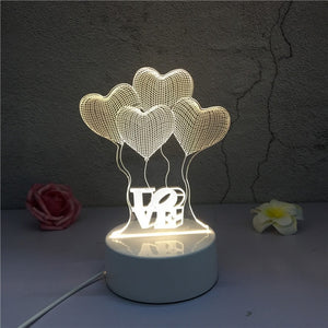 3D LED ambient night light - heart balloons