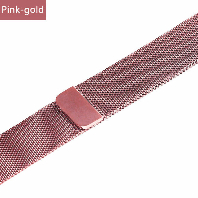 Stainless Steel Bracelet Band with Milanese Loop. Compatible with Apple Watch. Woven metal is soft, lightweight and looks very premium. Pink gold color