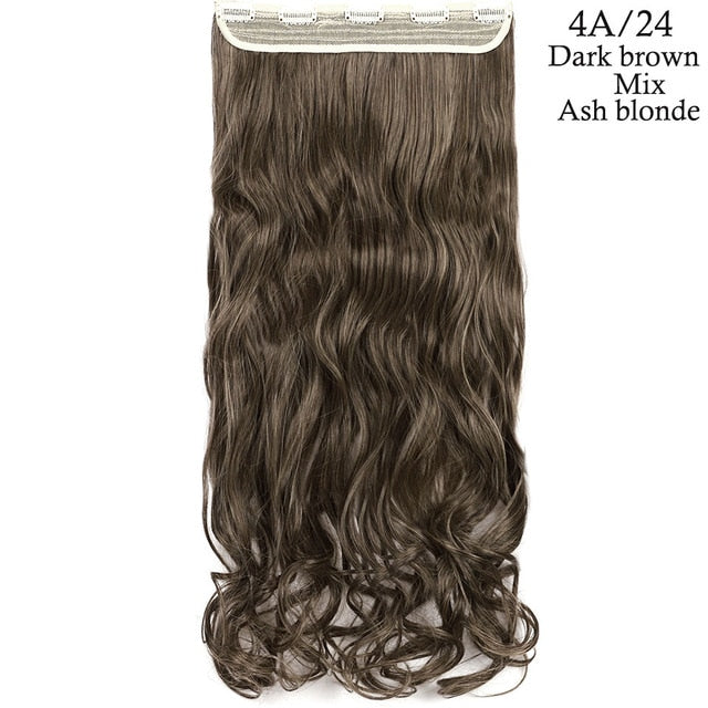 24inch one piece clip in hair extension in dark brown mix ash blonde