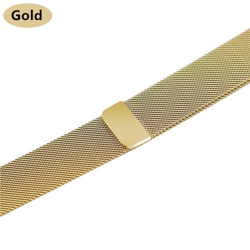Stainless Steel Bracelet Band with Milanese Loop. Compatible with Apple Watch. Woven metal is soft, lightweight and looks very premium. Gold color