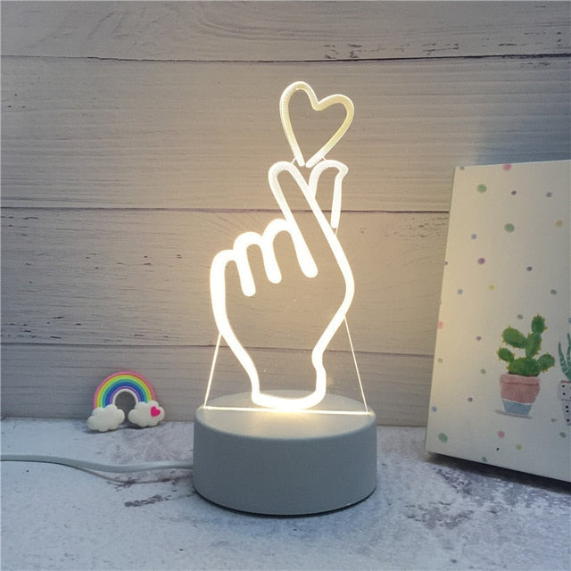 3D LED ambient night light - hand with love sign