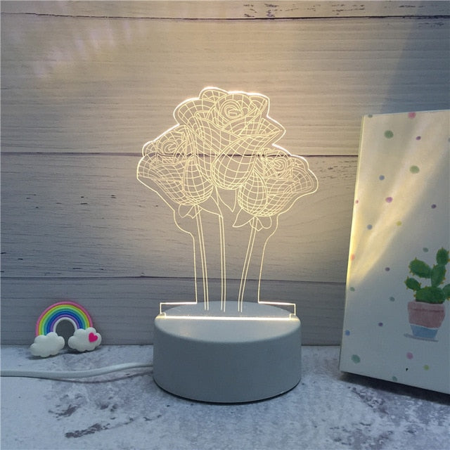 3D LED ambient night light - rose bouquet